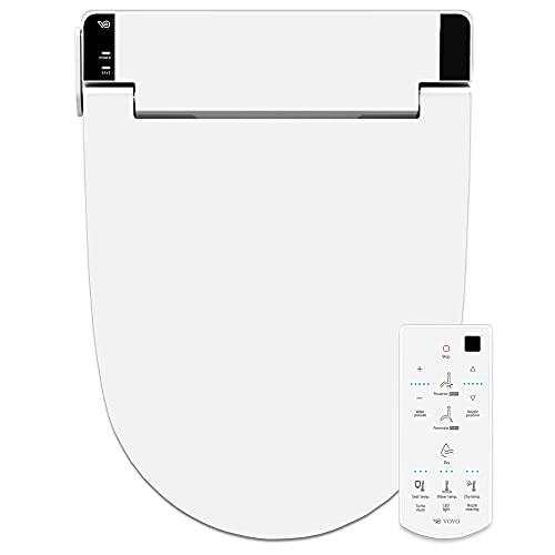 VOVO STYLEMENT VB-6000SE Electronic Smart Bidet Toilet Seat,Heated Seat, Warm Dry and Water, LED Nightlight, One-piece Toilet Bidet Seat, Elongated - White