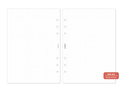 pen & pages® gepunktetes Papier Dot Grid - Din A5-6 Löcher - Nachfüllpapier A5 Organizer, Notizpapier, dotted, punktkariert, Lettering, Bullet Journal, 14,8 x 21 cm