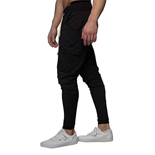 eiuEQIU Slim Fit joggingbroek voor heren, trainingsbroek stretch, sport, fitness, gym, training, lange sweatpants, strepen, joggingbroek, gestreepte broek met zakken
