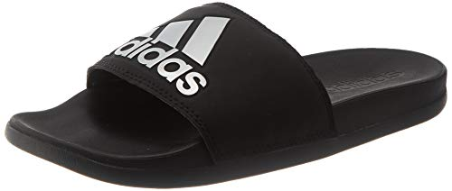 adidas Womens Adilette Comfort Sandal, Core Black/Silver Metallic/Core Black, 42 EU