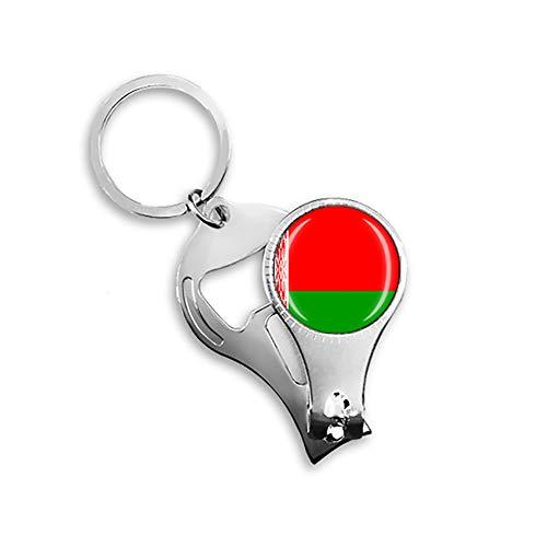 Weißrussland-Flagge Bierflaschenöffner Nagelknipser Metall Glas Kristall Schlüsselanhänger Reise Souvenir Geschenk Schlüsselanhänger Zubehör