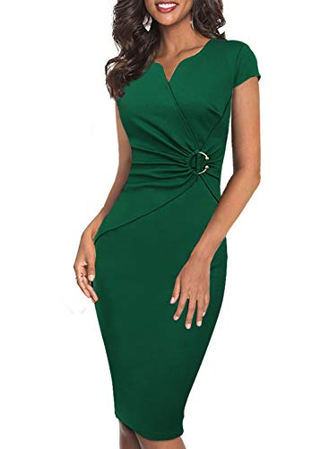VFSHOW Womens Green Elegant Notch V Neck Ruched Work Office Business Church Bodycon Sheath Dress 2722 GRN XL