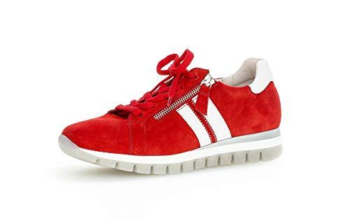 Gabor Damen Sneaker, Frauen Low-Top Sneaker,Comfort-Mehrweite,Reißverschluss,Optifit- Wechselfußbett, Women's Woman,Flame/Weiss,38 EU / 5 UK
