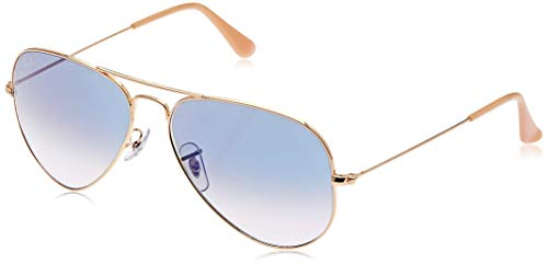 Ray-Ban Aviator Large Metal - Gafas de sol Unisex, Dorado (Blue Glass), 55 milímetros