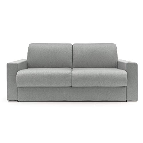 Sofá cama de 2,5 o 3 plazas modelo Easy con colchón plegable convertible en tejido suave impermeable y desenfundable, fabricado en Italia, longitud 96/212 cm (gris, 2,5 plazas)