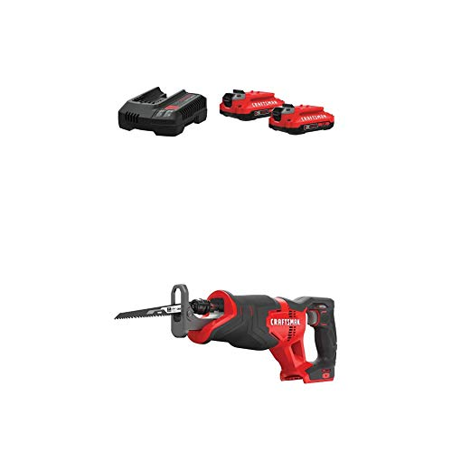 CRAFTSMAN V20 Battery & Charger Starter Kit, 2.0 Ah with Reciprocating Saw, Cordless (CMCB202-2CK & CMCS300B)
