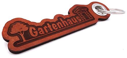 Samunshi® Leder Schlüsselanhänger mit Gravur Gartenhaus Geschenke Made in Germany 12x3,1cm Cognac braun/graviert