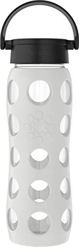 Lifefactory Botella de cristal con funda de silicona, sin BPA, antigoteo, apta para lavavajillas, 650 ml, color gris frío 18215