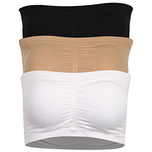 Atrest Padded Tube Bra, Stretch Seamless Strapless Bralette Fashion Tube Tops for Cami Shirt Basic Layer Nusing Bra Maternity Bra for Ladies 3 Pack Black+Beige+White, XXL