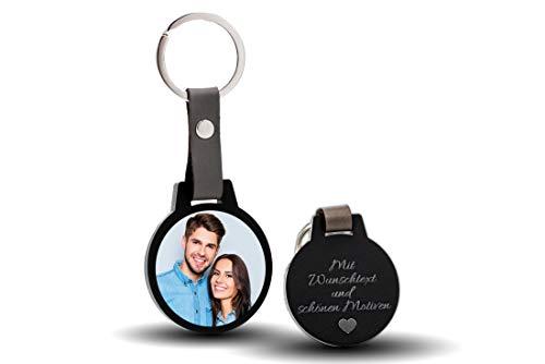 CHRISCK design Schlüsselanhänger mit Gravur und Foto / Fotodruck Geschenkidee zum Valentinstag kratzfester Fotodruck! Ideal Paare, Freundinnen, Mama und Papa (Gr.L)