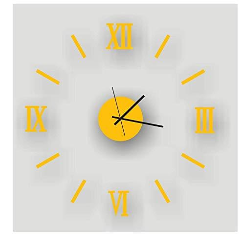 JKCKHA 40,6 cm moderno minimalista DIY calcomanías 3D pegatinas romanas personalidad creativa sala de estar extraíble decorativo montaje en pared reloj de pared, amarillo Roma (color: -, tamaño: -)