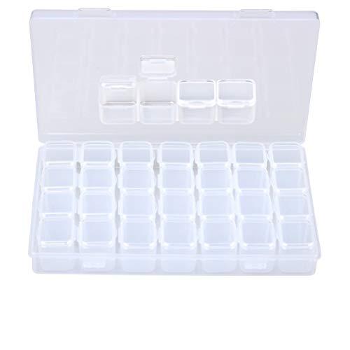 Siming Sortierbox transparent (leer) 28Fächer,Abnehmbar Zweisitzer Perlen Box