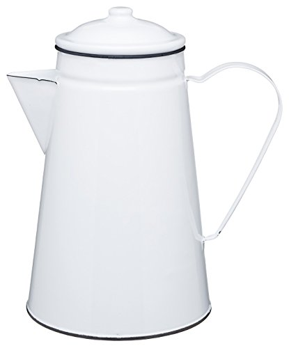 Living Nostalgia Kaffeekanne weiß/grau, Emaille, 30 x 18 x 18 cm