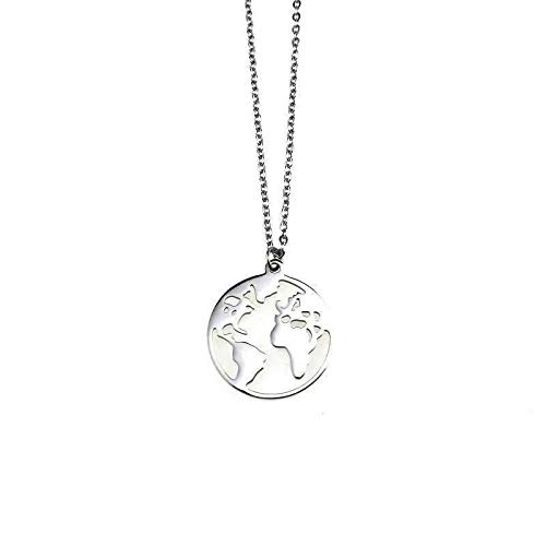 N\A Ins Hip Hop Jump di Map Necklace Men And Women Pendant Soil Cool Tide Clavicle Chain Student Neck Pendant