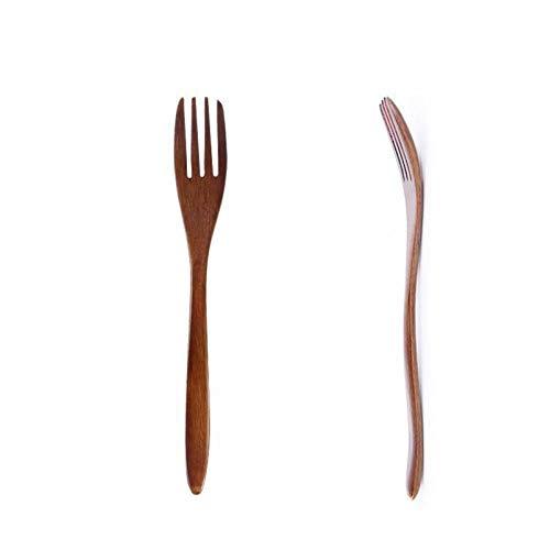Cuchara de madera Tenedor Cocina de bambú Utensilios de cocina Vajilla Mango largo Postre Comedor Fruta Tenedor Accesorios de cocina