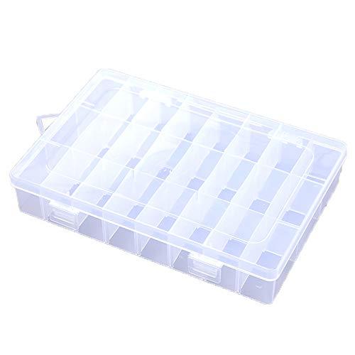 TOPYL Sostenible Caja Joyero con Divisores Extraíbles para Joyería Pendiente Herramienta Gancho De Pesca Pequeños Accesorios,Transparente Plástico Organizador Joyas 24 Celdas 19.5x13x2cm(8x5x1inch)