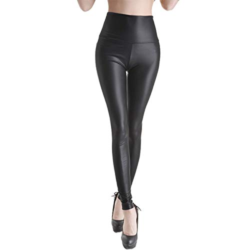 Donne moda colore a tinta unita vita alta Bandage Faux Leather Pants Pantaloni SUPERBA