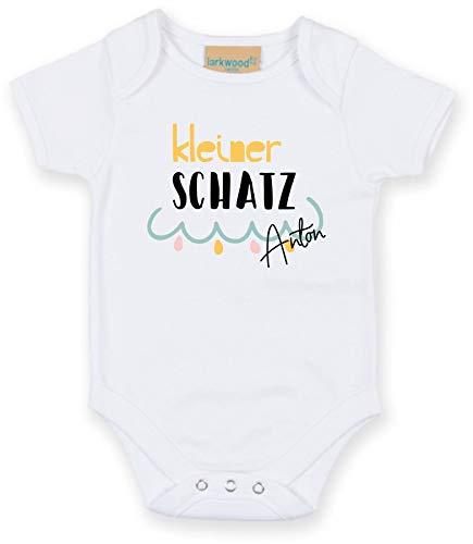 Body mit Namen | Motiv Kleiner Schatz | Personalisieren & Bedrucken | für Mädchen & Jungen Kurzarm Baby-Strampler inkl. Namensdruck