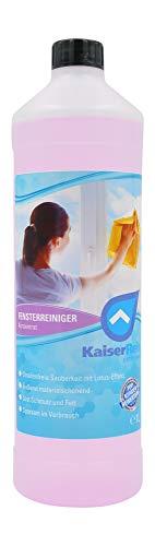 KaiserRein Fenster-Reiniger I Glasreiniger Konzentrat 1L mit Lotuseffekt Abperleffekt I Streifenfrei I Fensterputzmittel Spiegel, Glas und Fenster
