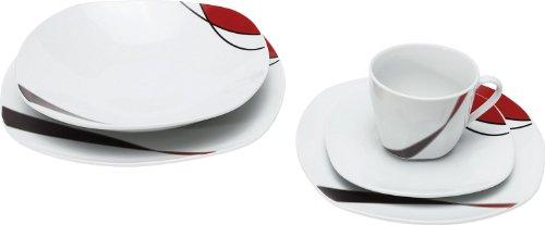 Gepolana Kombiservice, Tafelservice, Kaffeeservice, Geschirrset 30-tlg. Porzellan - spülmaschinengeeignet, mikrowellengeeignet - für 6 Personen