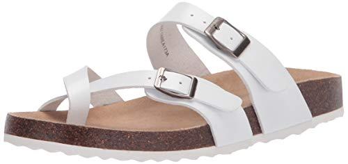 Amazon Essentials Women's Finley Flat Sandal, White, 9 M US
