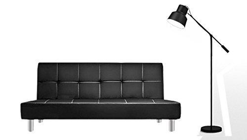Bagno Italia Divano Letto 3 posti 180x80 Ecopelle Nero Stile Moderno recrinabile da Soggiorno divani Modello Claudia I
