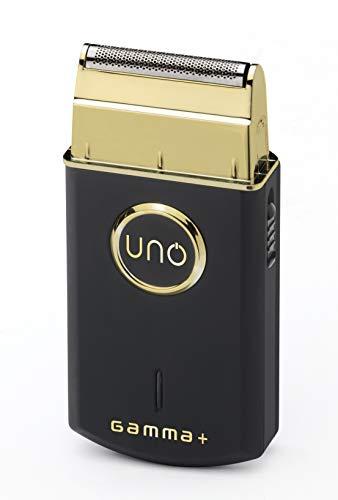 GAMMA PIÚ UNO Recortador eléctrico de barba, Recortador profesional de 38 mm, lámina ultrafina de titanio dorado, Velocidad del motor profesional 9.000 rpm, Recortador portátil, Carga rápida