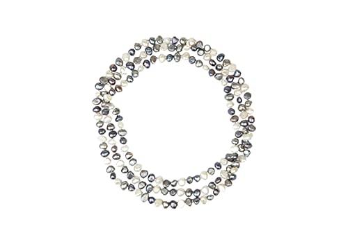 Amaya ARZUAGA - Collar 3 Vueltas Modelo Dark Moon - Collar de Perlas Multicolor cultivadas con Acabados en Plata de Ley 925 - Collar para Mujer - Collar