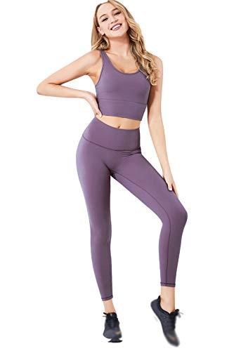 Traje de yoga para mujer, chaleco deportivo y cintura alta para correr, pantalones de fitness, pantalones violeta-M