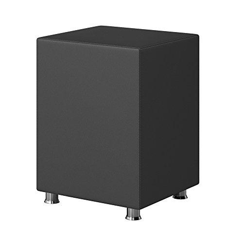 Inter Handels Nachttisch Hocker Kara Würfel Cube anthrazit 40x40x60 Kunstleder, Holz, grau, 60