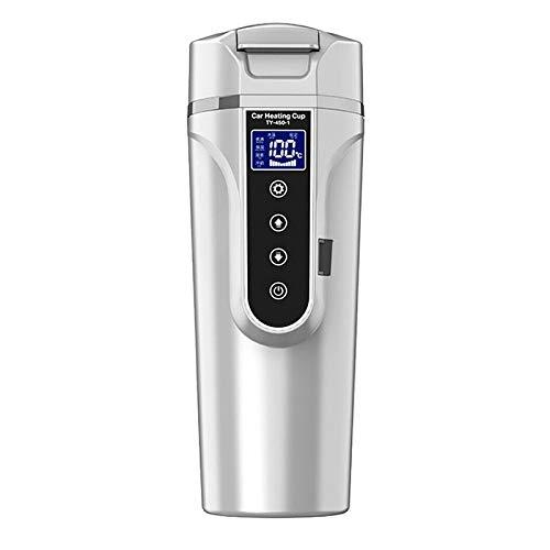 Mdsfe 12V 24V Taza calefactora portátil para automóvil Calentador de Tazas de Acero Inoxidable Hervidor de Agua para automóvil Taza de café Pantalla LCD Temperatura - Negro