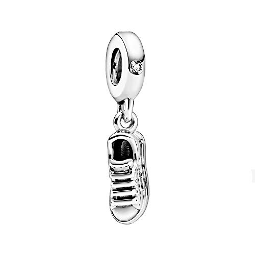Sneaker sterling silver dangle with clear cubic zirconia