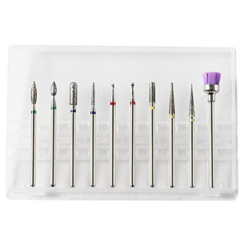 VCTKLN 10 Stück Bits für Nagelfräser, Nagelpolierkopf Set Poliermaschine Schleifkopf Pinsel Polierwerkzeug für die Maniküre Pediküre (D)
