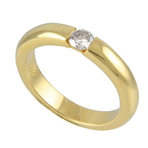 Anillo de oro con diamante de Alemania (oro amarillo 585) – Anillo de oro con brillante de 0,33 quilates – Anillo de diamante – Anillo para mujer – Anillo para hombre – con experta