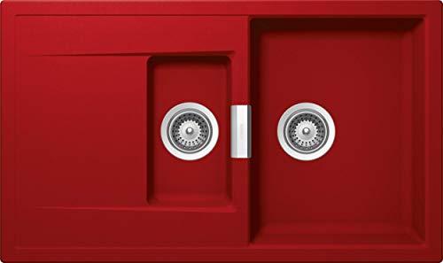 SCHOCK hochwertige Küchenspüle mit 1½ Becken 86 x 51 cm Mono D-150 Rouge - CRISTADUR rote Spüle mit Abtropffläche ab 60 cm Unterschrank-Breite