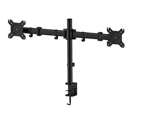 HFTEK Monitor TV Halter Mounts Doppel-Tischhalterung für 2 Bildschirme von 13 bis 27 Zoll – VESA 75/100 - HF29DB