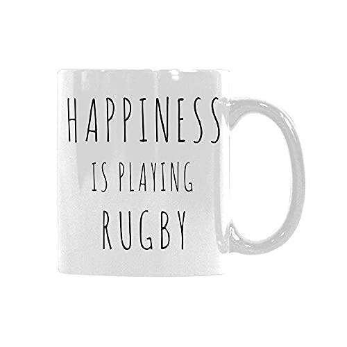 N\A Funny Saying Happiness is Playing Rugby Custom.Taza Taza de café de cerámica Divertida Taza única Presente para el Aniversario de cumpleaños de Navidad