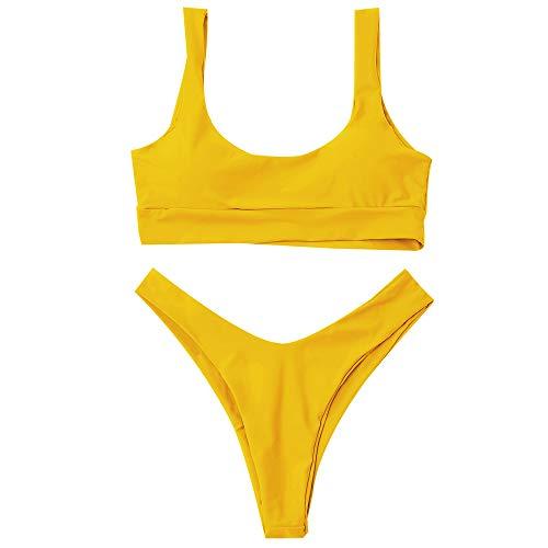 ZAFUL Bikini Scoop Neck High Cut Padded Swimwear Push Up Swimsuit Two Piece Bathing Suits Yellow M
