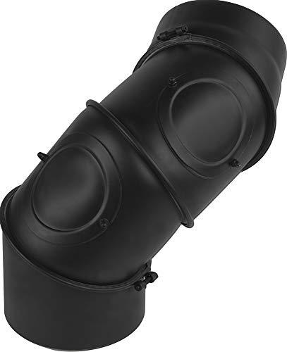 rg-vertrieb Ofenrohr Knie Winkel Bogen 0-135° Stahlrohr Abgasrohr Senotherm Schwarz 2mm Heizung Rauchrohrbogen 3 x 45° (180mm)