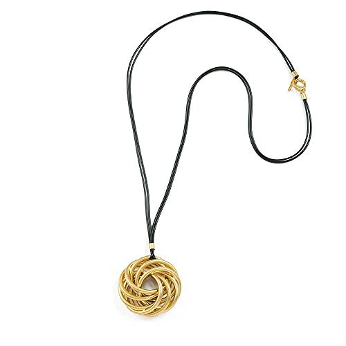 NIEVOS JEWELRY Collar largo chapado en oro de 24 quilates, colgante único en espiral, con cordones de algodón negro, estilo grueso, minimalista, elegante, hecho a mano en Israel