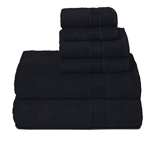 GLAMBURG Juego de 6 Toallas de algodón Ultra Suaves, Contiene 2 Toallas de baño de 70 x 140 cm, 2 Toallas de Mano de 40 x 60 cm y 2 paños de Lavado de 30 x 30 cm, Color Negro
