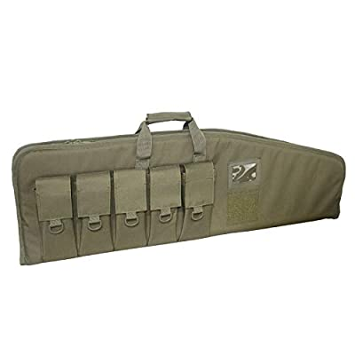 "XWLSPORTS Rifle Case Tactical Assault Rifle Bag Heavy Duty Gun Case for AR15/M4 with 5 Magazine Pouches (Green, 42"")"