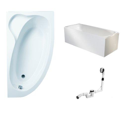 Mybath BWSET115KTE Badewannen komplett Set inklusiv Acryl Raumspar rechts Träger und Über- Ablaufgarnitur, 160 x 90 cm