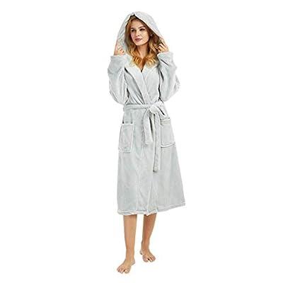 Women's Hooded Robes Soft Warm Short Plush Fleece Bathrobe Sherpa Lined Dressing Gown Long Sleeved Coat