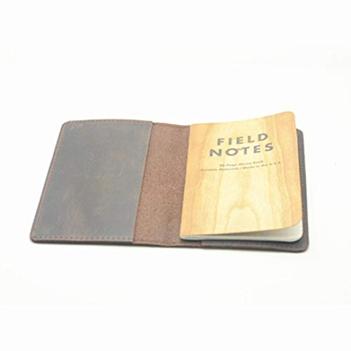 Funda de piel para cuaderno de notas de campo Moleskine Cahier, tamaño de bolsillo de 9 x 14 cm, estilo vintage, recargable, color marrón oscuro