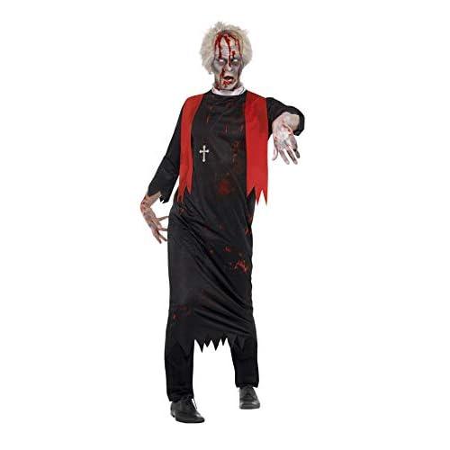 Smiffys Costume Sommo sacerdote zombie, Nero, con tunica e collana con crocifisso