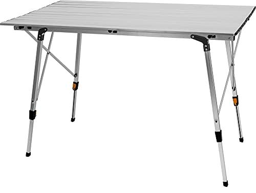 normani Campingtisch Gartentisch Alu-Tisch Klapptisch Falttisch Balkontisch für 6 Personen 120 x 70 cm - Teleskopbeine Stufenlos Höhenverstellbar
