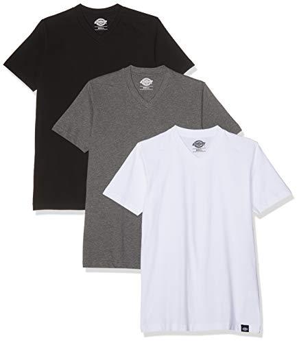 Dickies Herren T-Shirt V Neck 3er Pack,Mehrfarbig (White/Black/Grey),X-Large