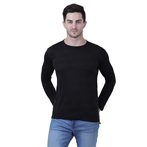 KETEX Black Round Neck Spun Cotton fullsleeves Men's Tshirt