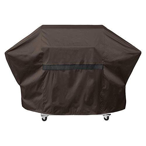 True Guard Grill Cover Heavy Duty Waterproof - Fits 5-6 Burner Grills, 72' 600D Rip-Stop, Fade/Stain/UV Resistant, Dark Brown Outdoor BBQ Grill Cover